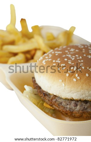 Burger and chips, white background.