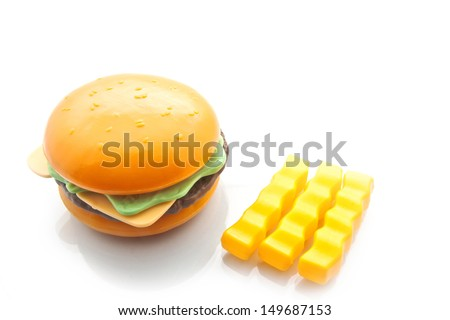 Burger and French Fries, isolated on white with copy writing space, plastic