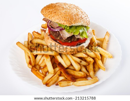 Burger and fries on the plate