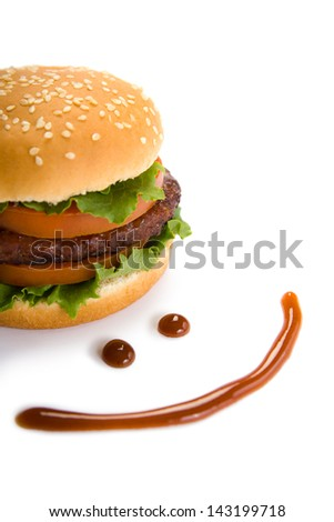 Burger and happy smile - stock photo