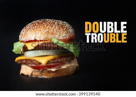 burger beef  American junk fast food hamburger with cheese cheeseburger beef burger with grilled bacon - stock photo