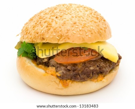 Burger. Big sandwich on a white background