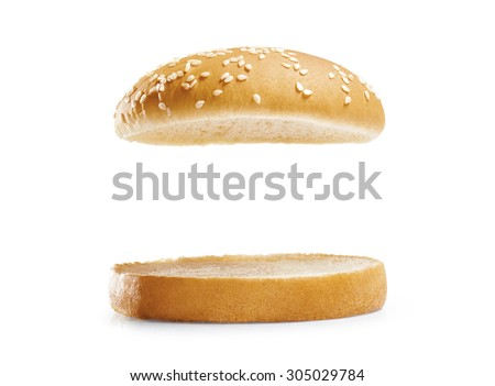 burger bread isolated on white  background. - stock photo