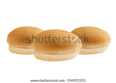 Burger buns family isolated on a white background  - stock photo