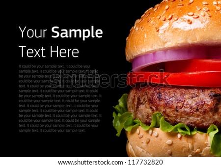 Burger. Burger on black background. Isolated Burger. Home made burger. Fastfood meal. Pub burger. Delicious Burger. Gourmet burger. Modern Burger. Closeup Burger. Burger bun. Club sandwich. Bbq. - stock photo