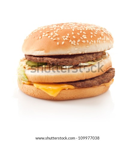 Burger fast food Isolated on white background - stock photo
