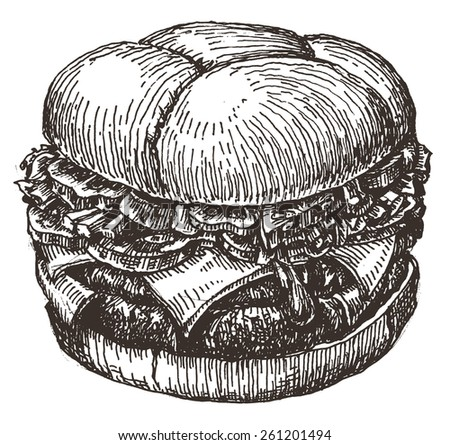 Burger. fast food on a white background. sketch - stock photo