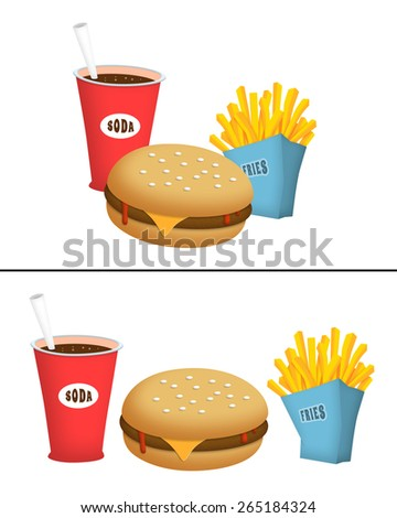 Burger, fries and soda fast food.