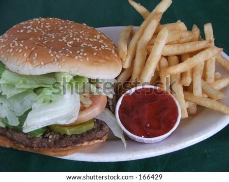 burger & fries with ketchup - stock photo