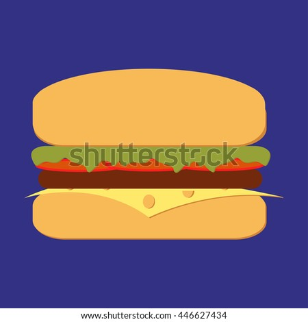 Burger grill with lettuce, tomato, meat and cheese bbq. Ham and vegetable - stock photo