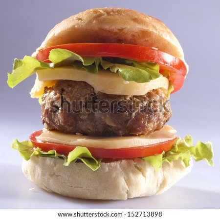 burger in homemade bread with cheese, onion, tomato and lettuce - stock photo