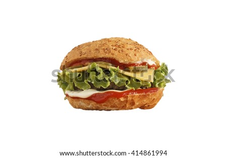 burger, isolated, closeup, fresh fast food