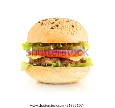 Burger isolated on white.