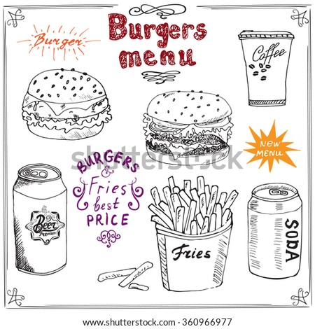 Burger Menu hand drawn sketch. Fastfood Poster with hamburger, cheeseburger, potato sticks, soda can, coffee mug and beer can. illustration with lettering, isolated.