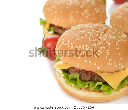 Burger on a white background - stock photo