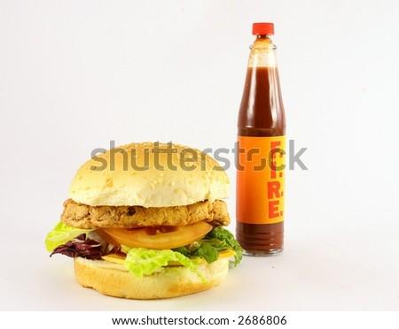 burger on fire - stock photo