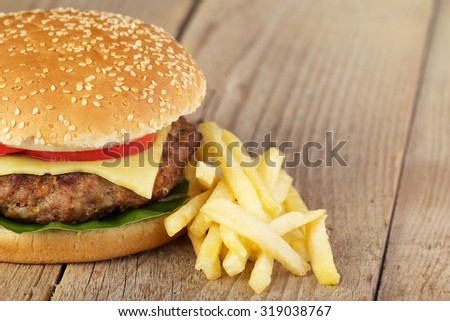 burger on wooden board