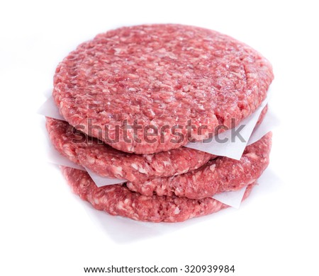 Burger (raw minced Beef) isolated on white background - stock photo