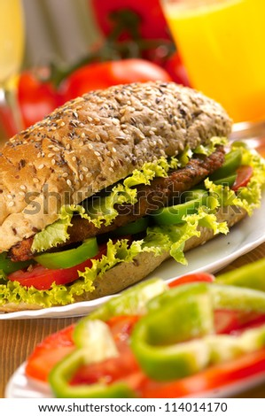 Burger sandwich with green salad, red and green pepper