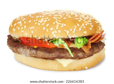 Burger with bacon isolated