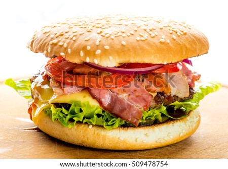 burger with bacon on a white background