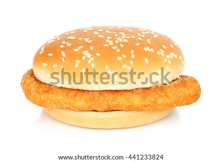 Burger with chicken meat on a white background