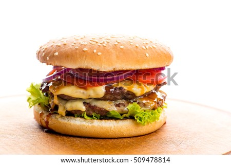burger with double chop on a white background