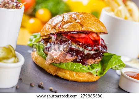 Burger with duck - stock photo