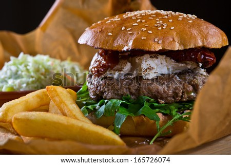 burger with goat cheese - stock photo