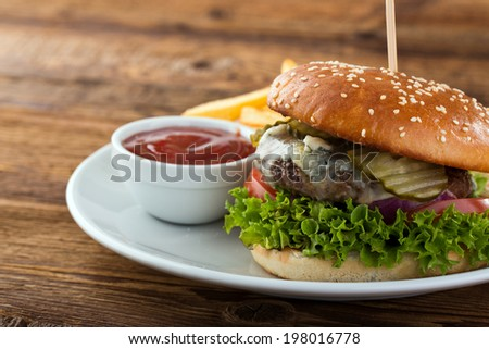 burger with gorgonzola cheese - stock photo