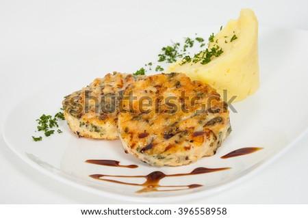 burger with mashed potatoes - stock photo