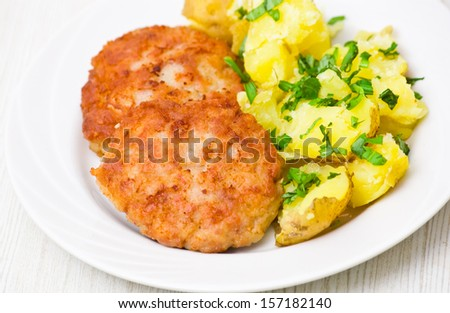 Burger with potato