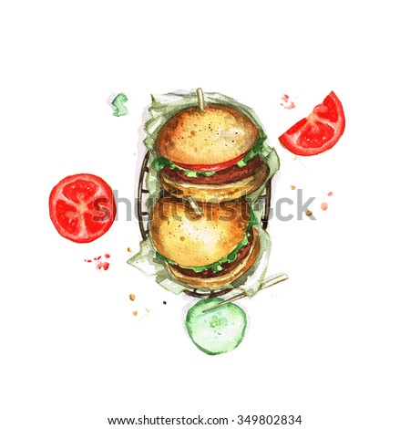 Burgers - Watercolor Food Collection - stock photo