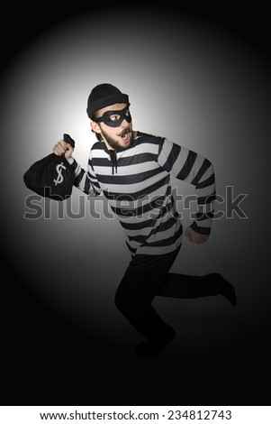 Burglar got caught whlie he is running.
