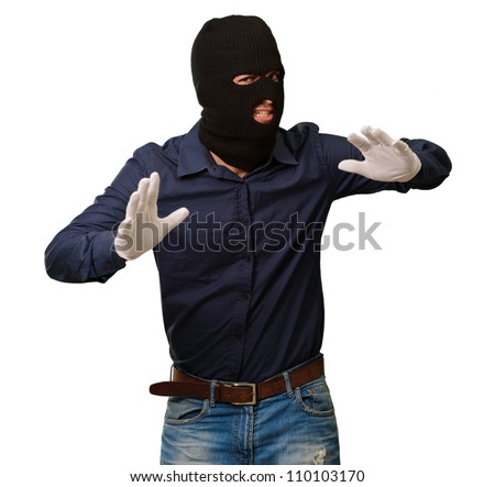 Burglar In Face Mask Isolated On White Background - stock photo