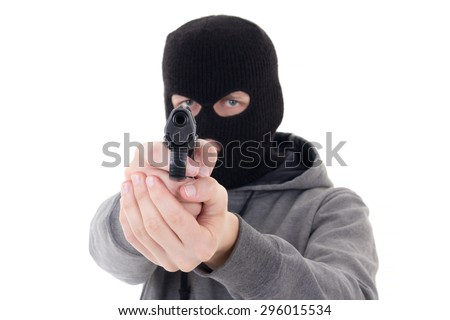 burglar or terrorist in mask shooting with gun isolated on white background