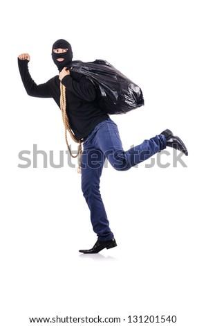 Burglar wearing balaclava isolated on white - stock photo
