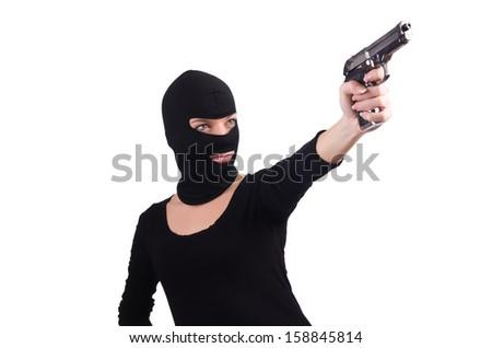 Burglar with handgun isolated on white - stock photo