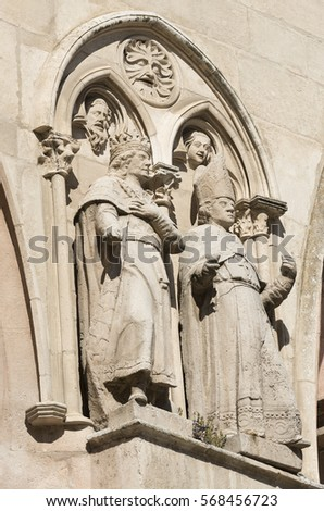 Burgos (Castilla y Leon, Spain): exterior of the medieval cathedral, in gothic style. Detail of statues