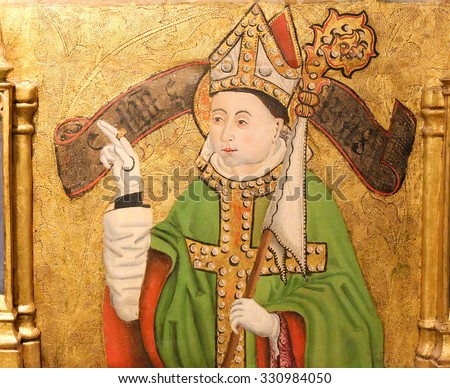 BURGOS, SPAIN - AUGUST 13, 2014: Painting of a bishop with a mitre and crozier in the Cathedral of Burgos, Castille, Spain - stock photo