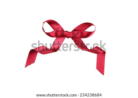 Burgundy bow isolated on white - stock photo