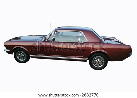 Burgundy vintage sports car isolated with clipping path - stock photo