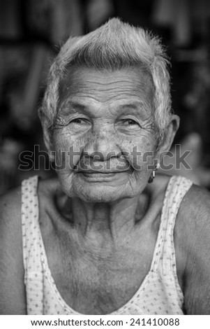 Buri Ram - Nov 12: Unidentified woman in Thailand who is more than 100 years old on Nov 12, 2013 in Bangkok, Thailand. - stock photo