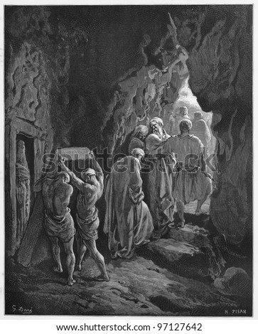 Burial of Sarah - Picture from The Holy Scriptures, Old and New Testaments books collection published in 1885, Stuttgart-Germany. Drawings by Gustave Dore. - stock photo
