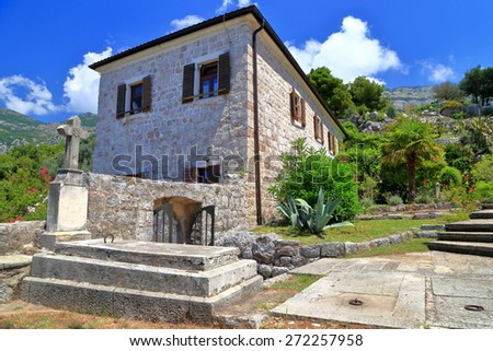Burial place inside orthodox monastery from the Adriatic sea coast, Montenegro - stock photo
