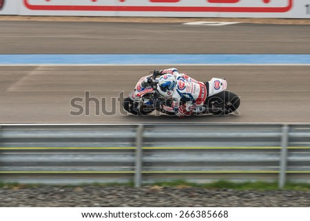 BURIRAM - MARCH 22 :  Sylvain Guintoli on race with Honda CBR1000RR SP at Chang International Circuit on March 22 2015, Thailand