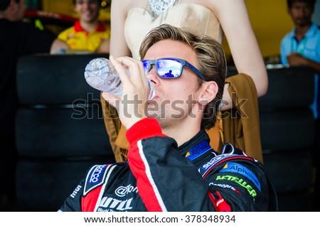 BURIRAM - NOVEMBER 1: Tom Chilton of ROAL Motorsport Team on display 2015 FIA World Touring Car Championship on November 1, 2015 at Chang International Racing Circuit, Buriram Thailand. - stock photo