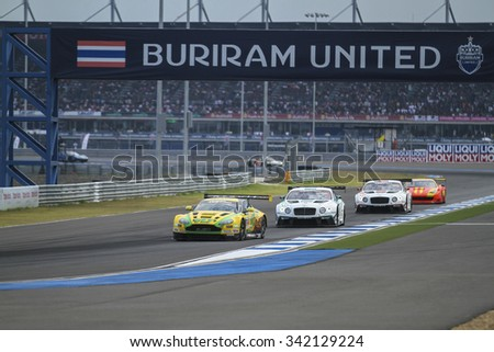 BURIRAM - OCT 25:O'Young/Lloyd with aston martin car on display Buriram festival of speed GT Asia series on October 25, 2015 at Chang International Racing Circuit, Buriram Thailand.