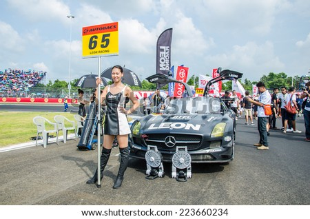 BURIRAM - OCTOBER 5: Mercedes-Benz racing car on display at The 2014 Autobacs Super GT Series Race 7 on October 5, 2014 at Chang International Racing Circuit, Buriram Thailand.