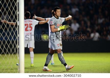 Buriram,THA-AUG1: Kawin.T goalkeeper of MTUTD in action in action during the competition Thai Premier League 2015 between Buriram Utd. and MTUTD at I-Moblie Stadium on August1,2015 in Buriram,Thailand - stock photo